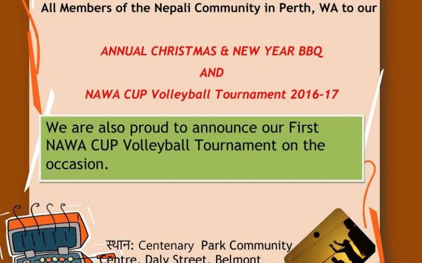क्रिसमस २०१६ र नयाँ बर्ष २०१७ को उपलक्ष्यमा नावाद्वारा BBQ कार्यक्रम तथा नावा कप भलिबल प्रतियोगिता  हुँदै