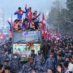 साग विजेता फुटबल खेलाडीको काठमाडौंमा भब्य स्वागत
